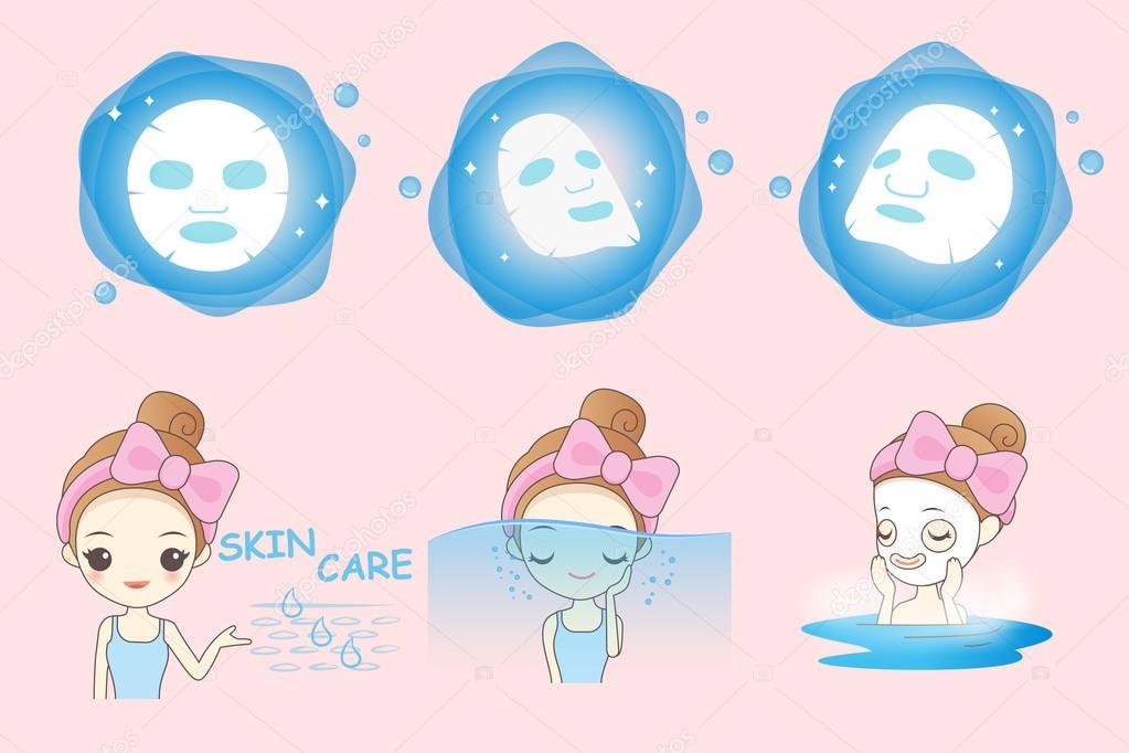 cartoon girl uses mask