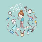 Zubař doktor s zubař nástroje