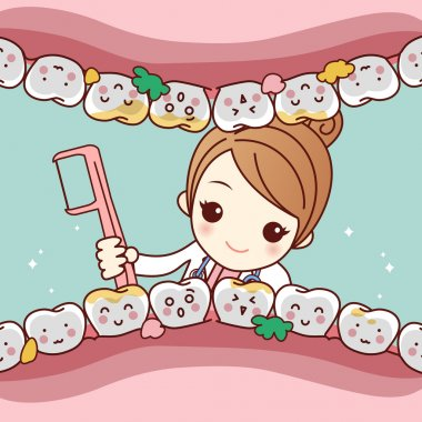 cartoon dentist doctor clean tooth