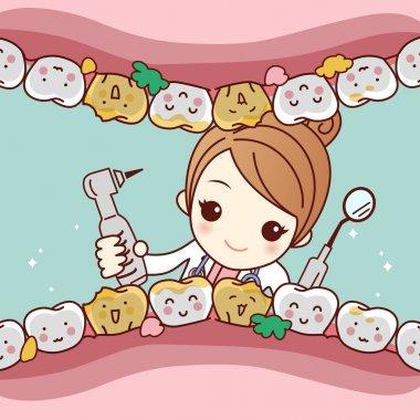 cartoon tooth friend with dentist