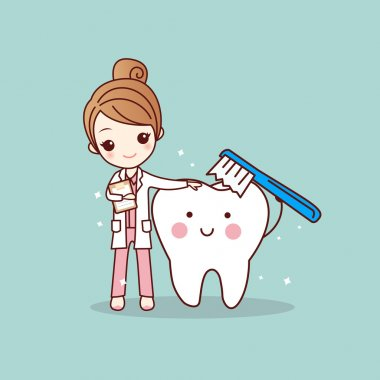 woman dentist brush clean teeth