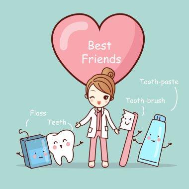 cute cartoon tooth best friends