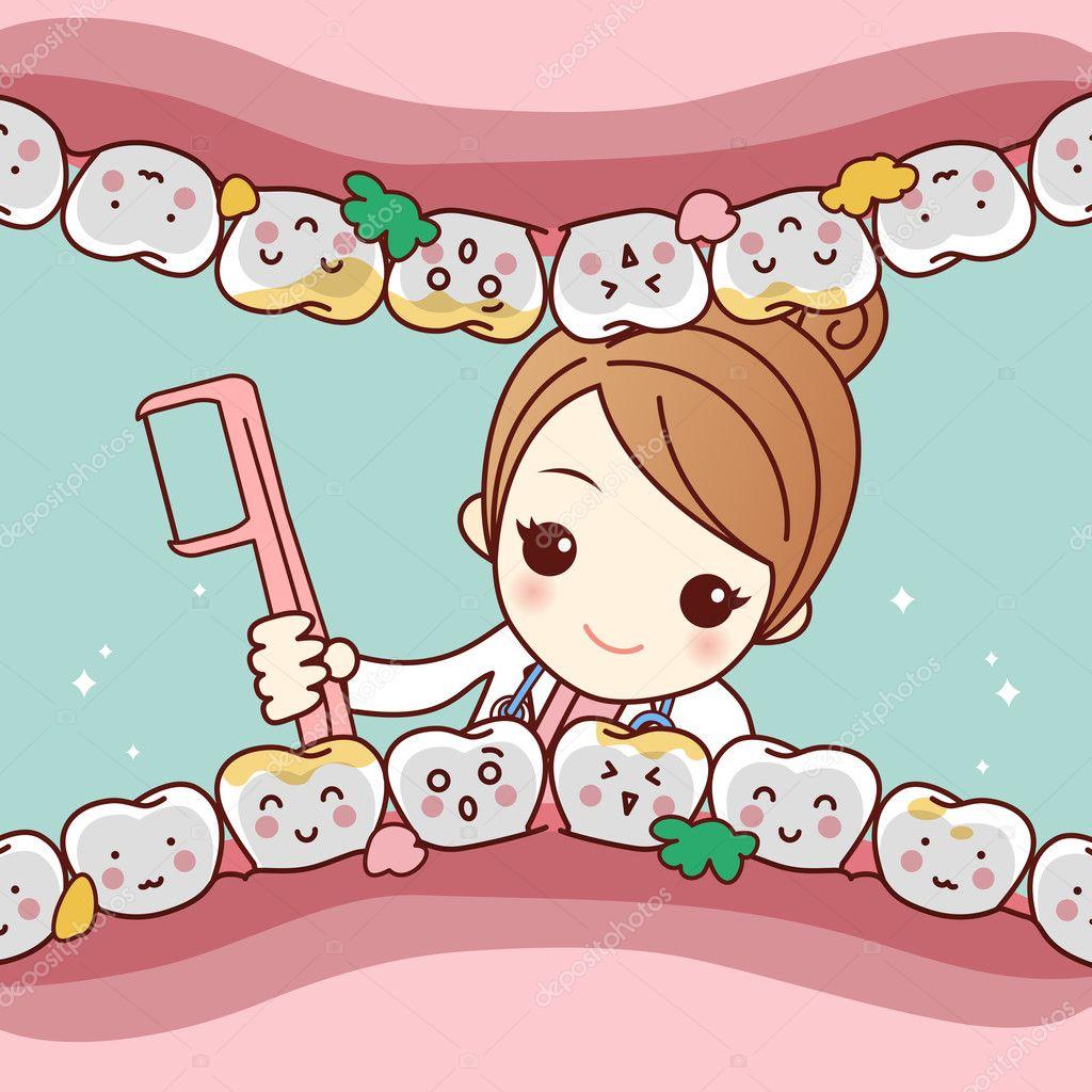987e2020e Dente limpo de bonito dos desenhos animados dentista médico pelo fio dental