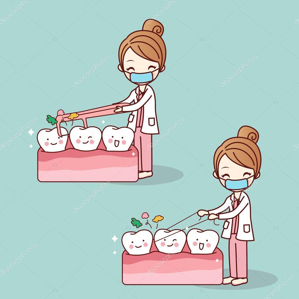 2a3e2db43 dentista uso fio dental limpa dentes — Vetores de Stock © etoileark ...