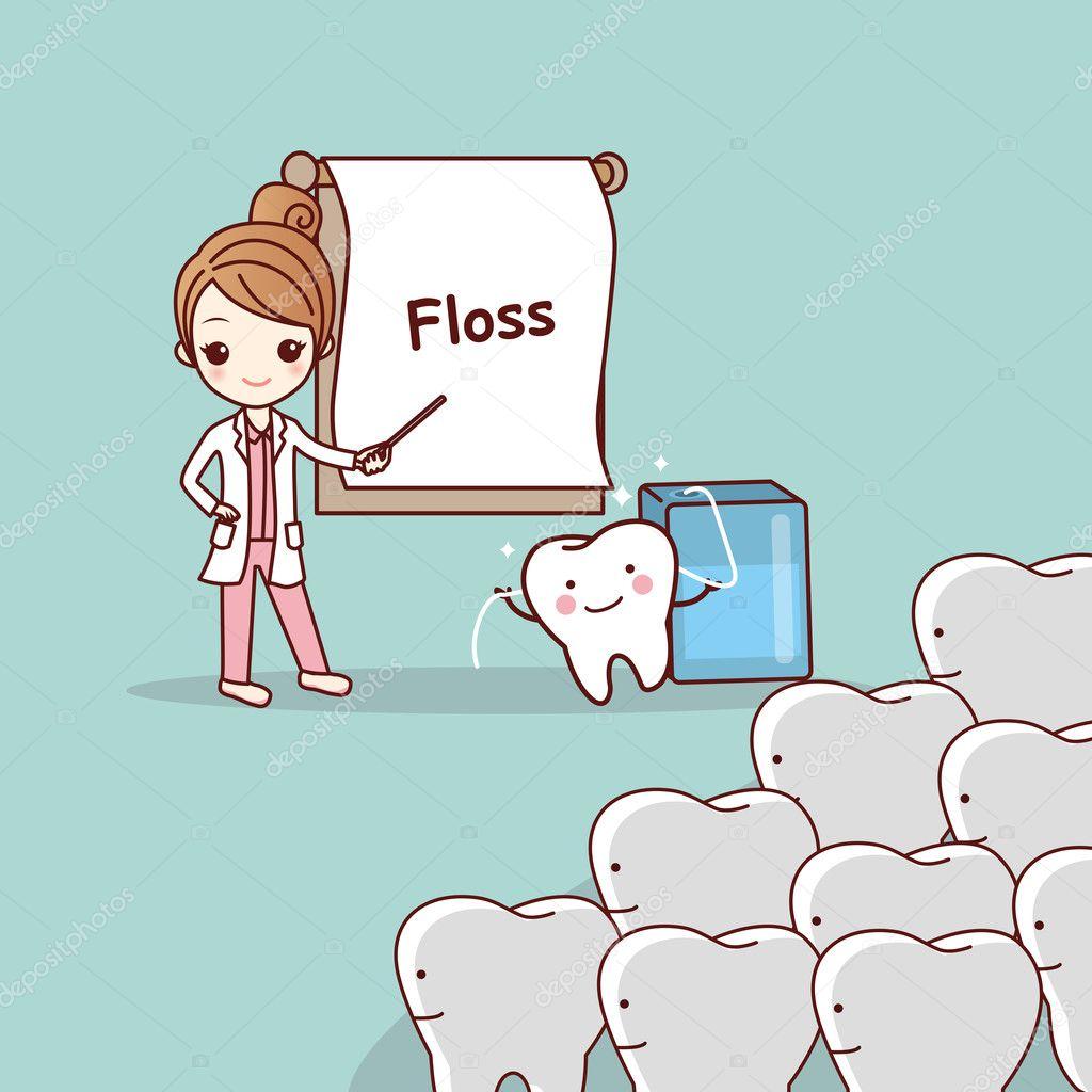 7e33b899e dentista ensina os dentes usam fio dental — Vetores de Stock ...