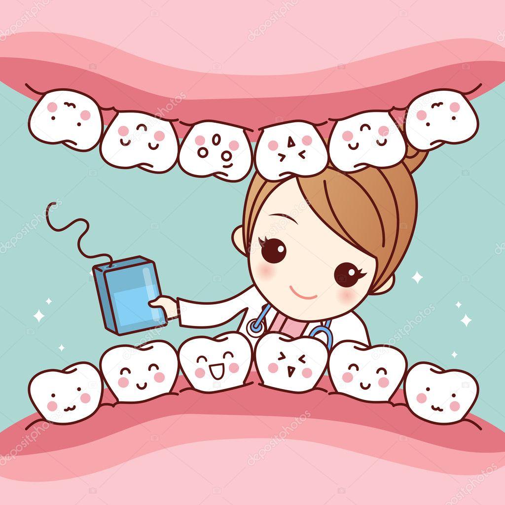 c347cfa80 dentista com fio dental e dente — Vetor de Stock © etoileark  127696094