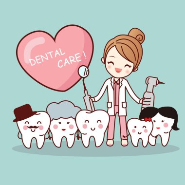 cartoon tooth family with dentist