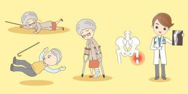 cartoon old people foot fractures