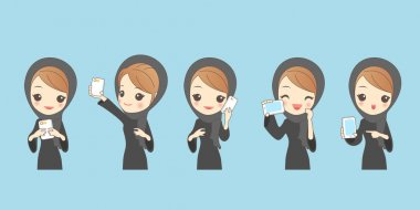 cartoon arab woman use phone