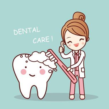 cute cartoon dentist brush tooth