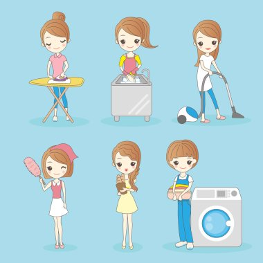 cartoon woman do housework