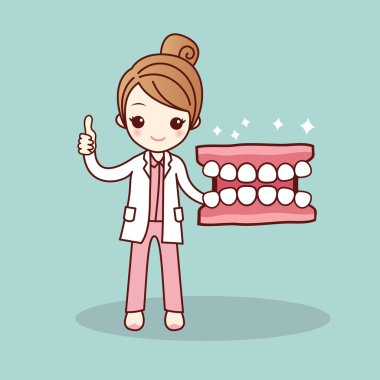 Happy cartoon denture and dentist