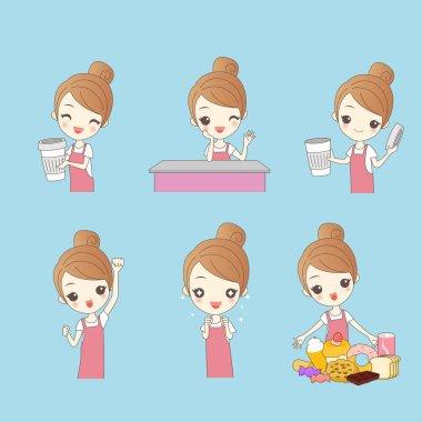 Cartoon woman coffee shop clerk