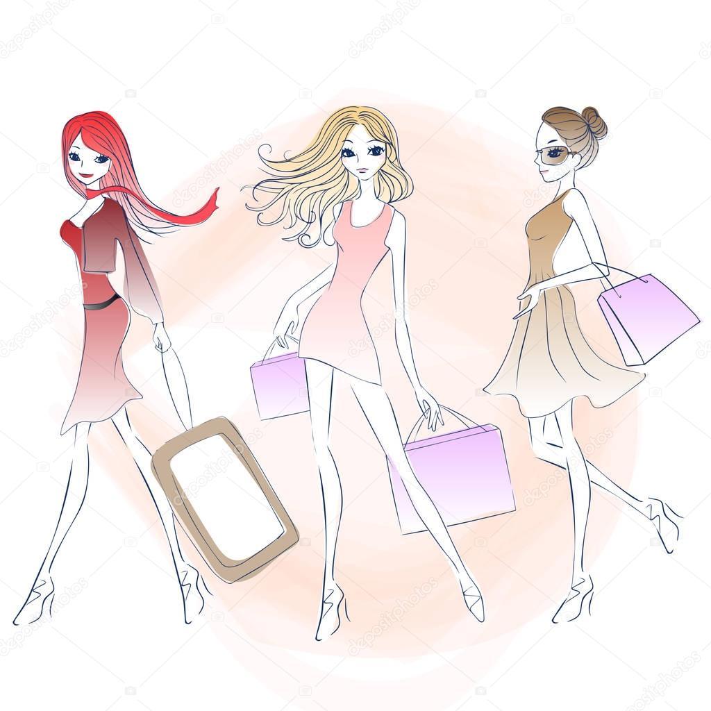 Dessin Shopping femme de mode dessin animé shopping — image vectorielle etoileark