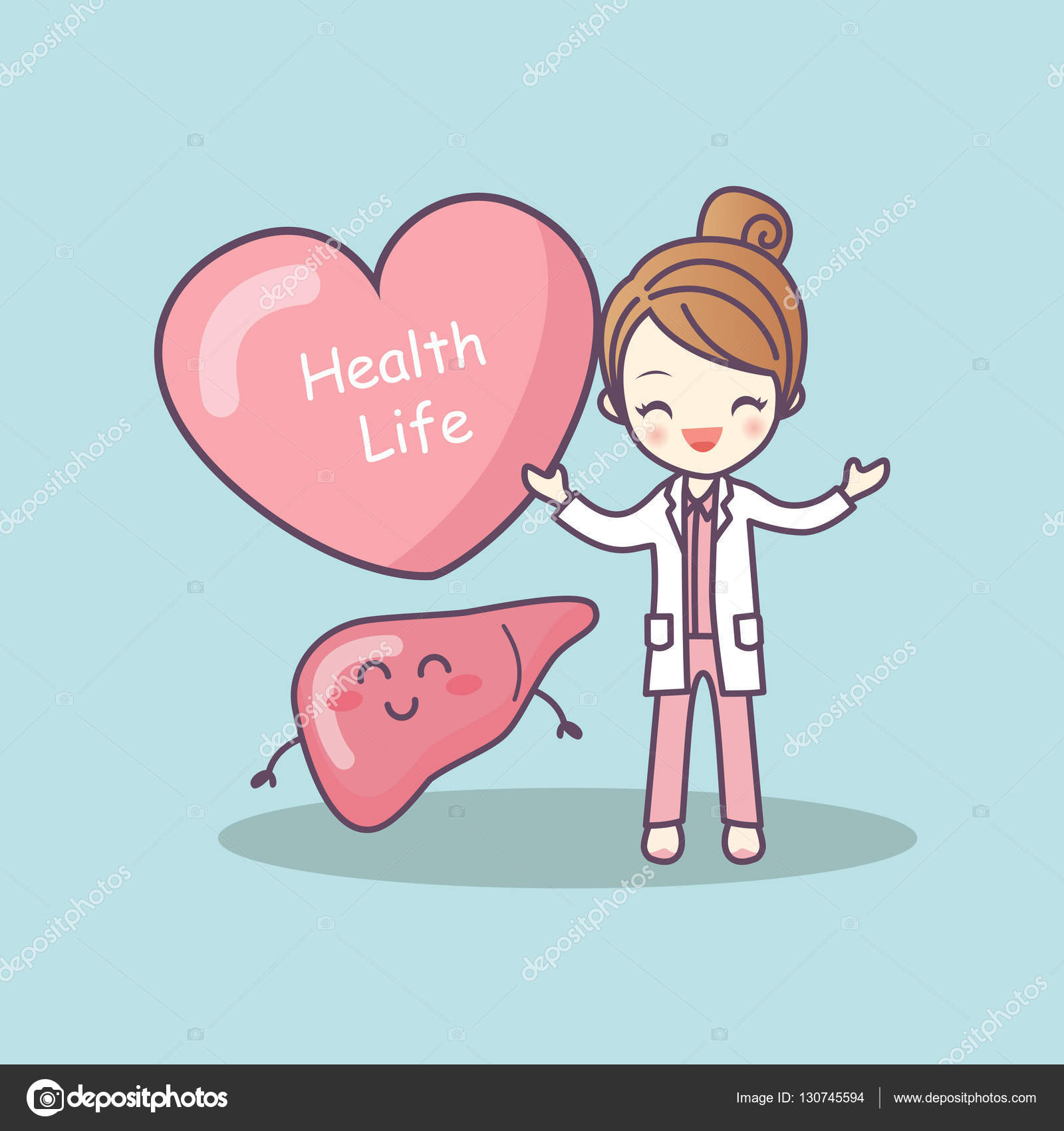 Stock Illustration Cute Cartoon Doctor With Liver
