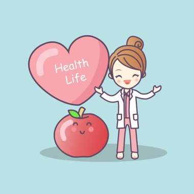 cartoon doctor with apple