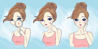 cartoon woman has face problem
