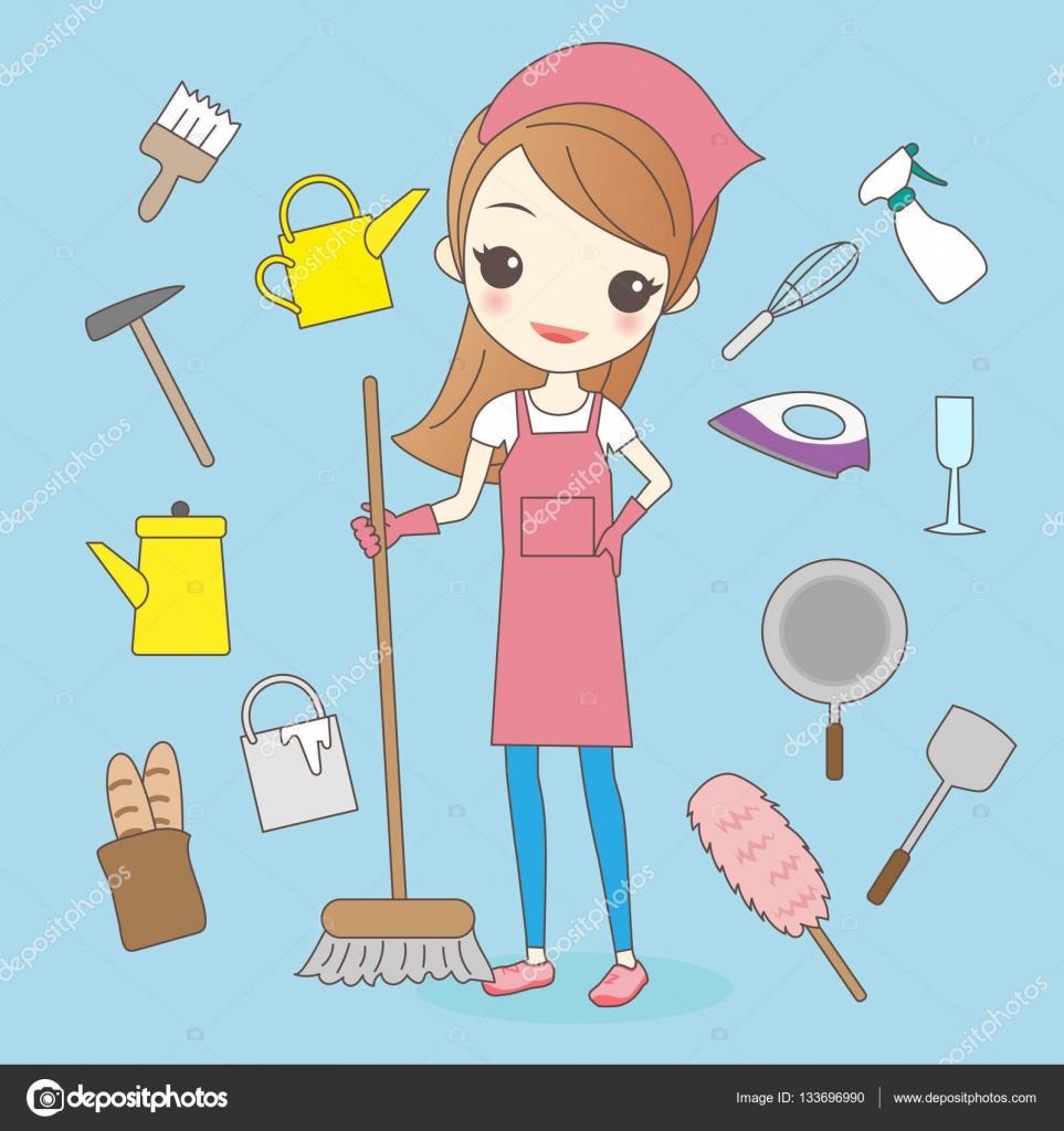 Ama de casa de dibujos animados hacer tareas del hogar - Hacer limpieza en casa ...