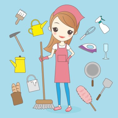 cartoon housewife do housework cleaning