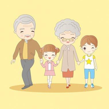 cartoon grandparents with their grandchildren