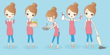 happy cartoon housewife do work
