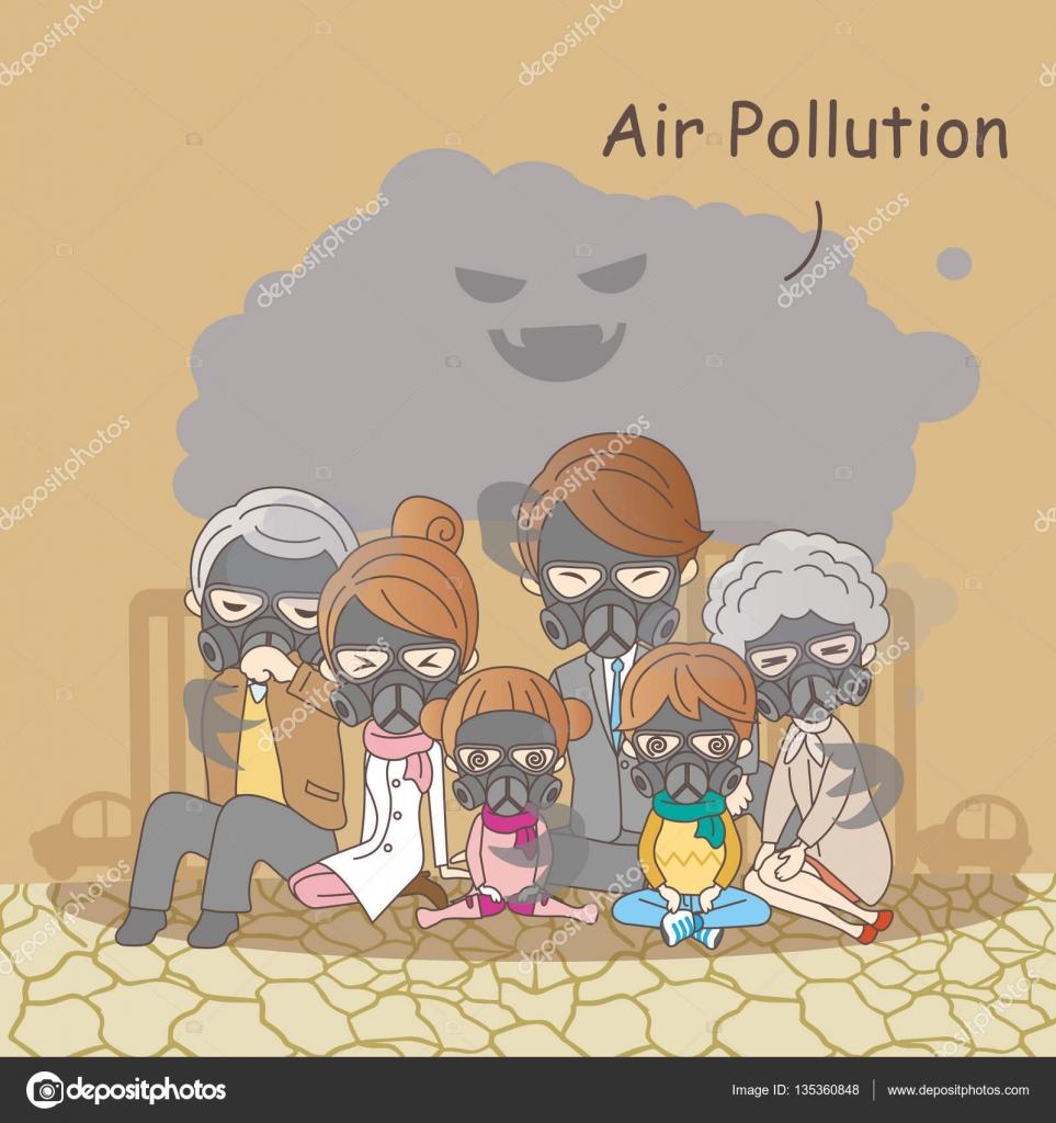 Cartoon family with air pollution stock vector etoileark cartoon family feeling bad with air pollution vector by etoileark sciox Gallery