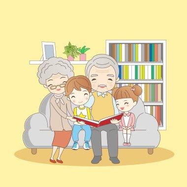 Happy family reading book