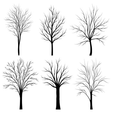 Trees silhouettes set on white background vector