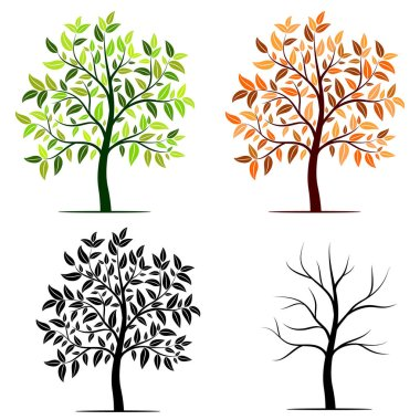 Seasons of tree vector background