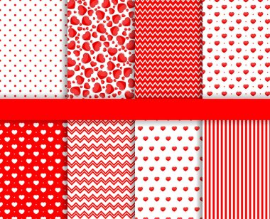 Set of Valentines Day seamless pattern background vector