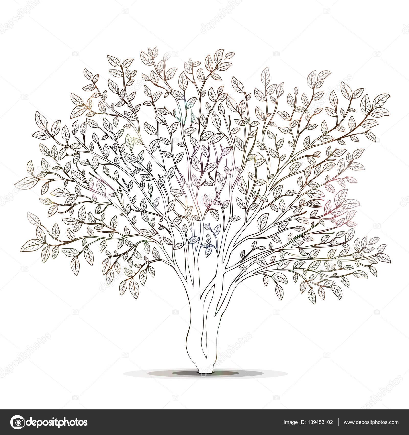 Ağaç Yaprakları Siluet Ile Kitap Vektör Boyama Sayfası Stok