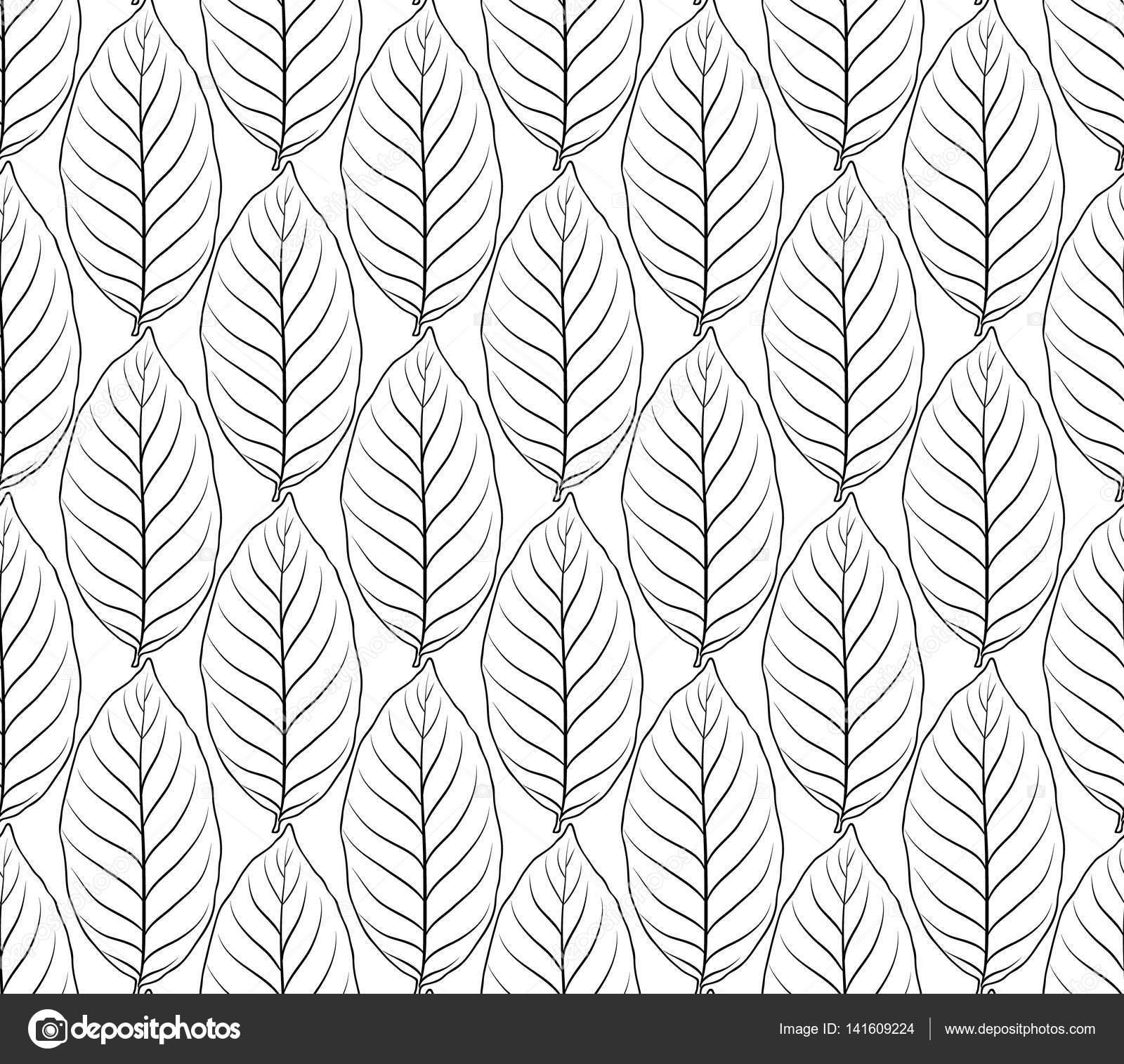 Nahtlose Muster mit Blätter zum Färben von Buch Seite Vektor ...