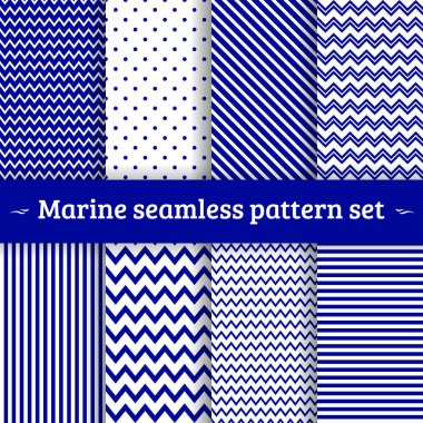 Sea pattern seamless vector set