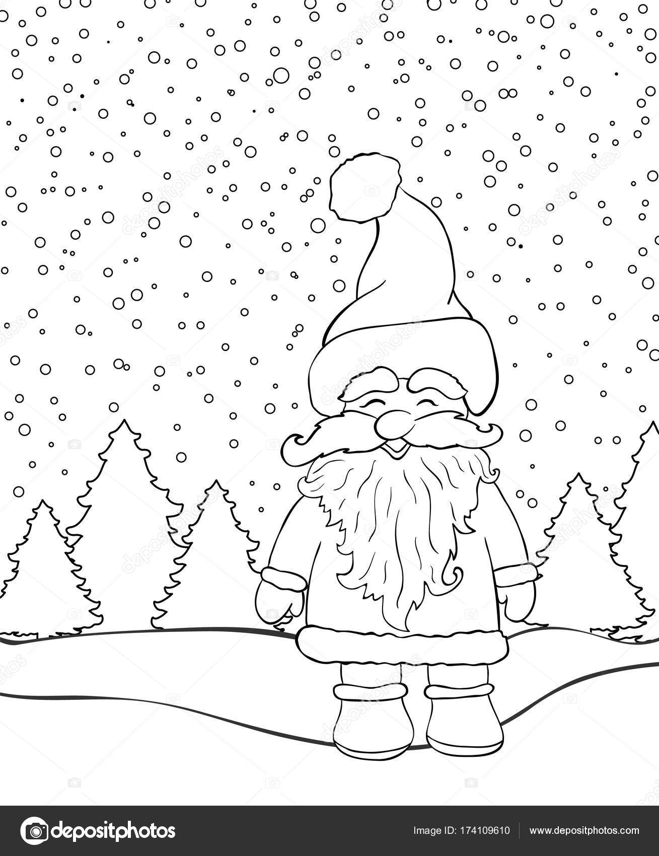 Noel Arka Plan Boyama Kitabı Için Noel Baba Ve çam Ağaçları Ile