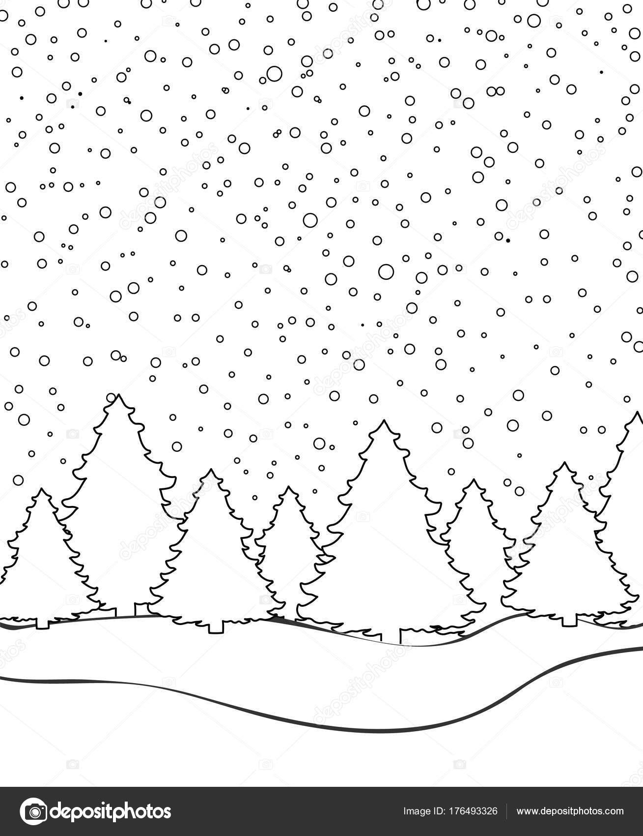 Imágenes Paisajes De Nieve Para Colorear Paisaje De Invierno Para