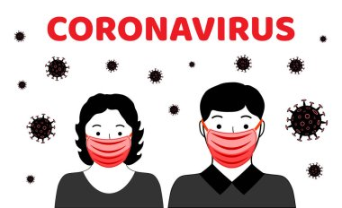 Dangerous chinese coronavirus. Wuhan Novel coronavirus 2019-nCoV. People in respirators. Pandemic medical health risk. Vector illustration