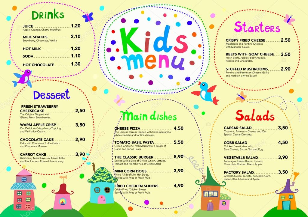 Cute Colorful Meal Kids Menu Template Stock Vector C Dinaraenamel