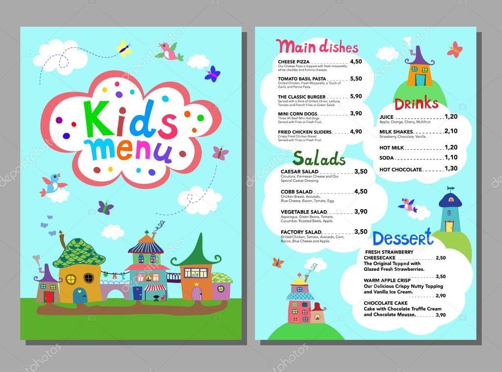 cute colorful meal kids menu template ストックベクター