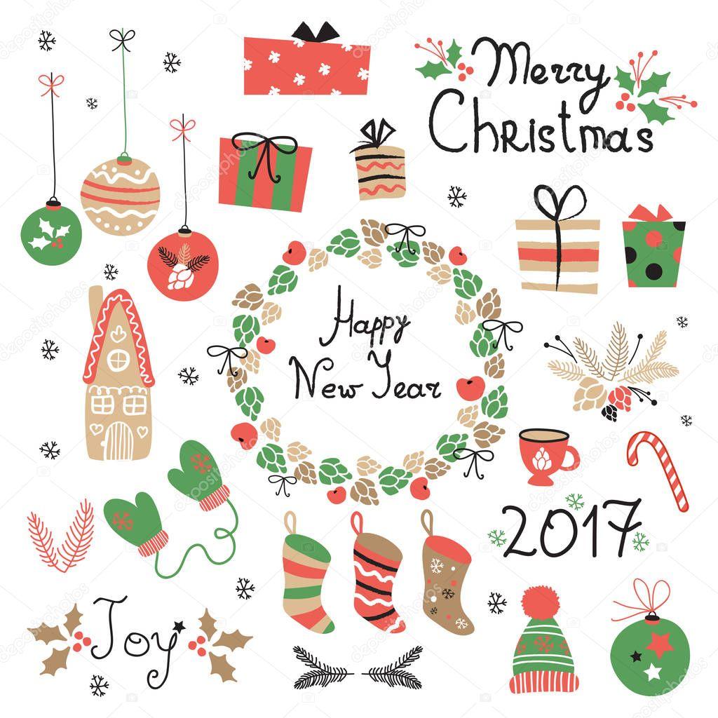 Navidad conjunto de elementos gráficos con corona, pastel, casa de ...