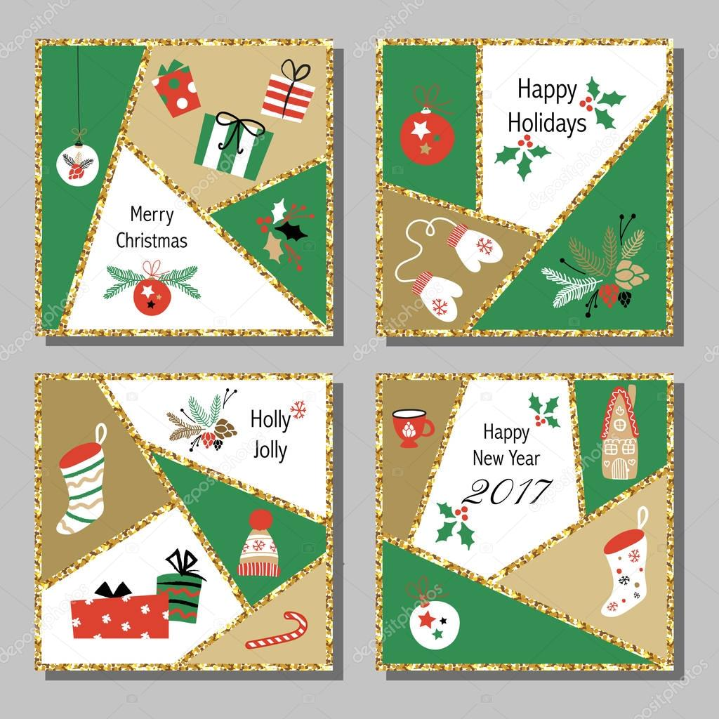 Christmas Cards Set With Different Signs On Christmas And New Year
