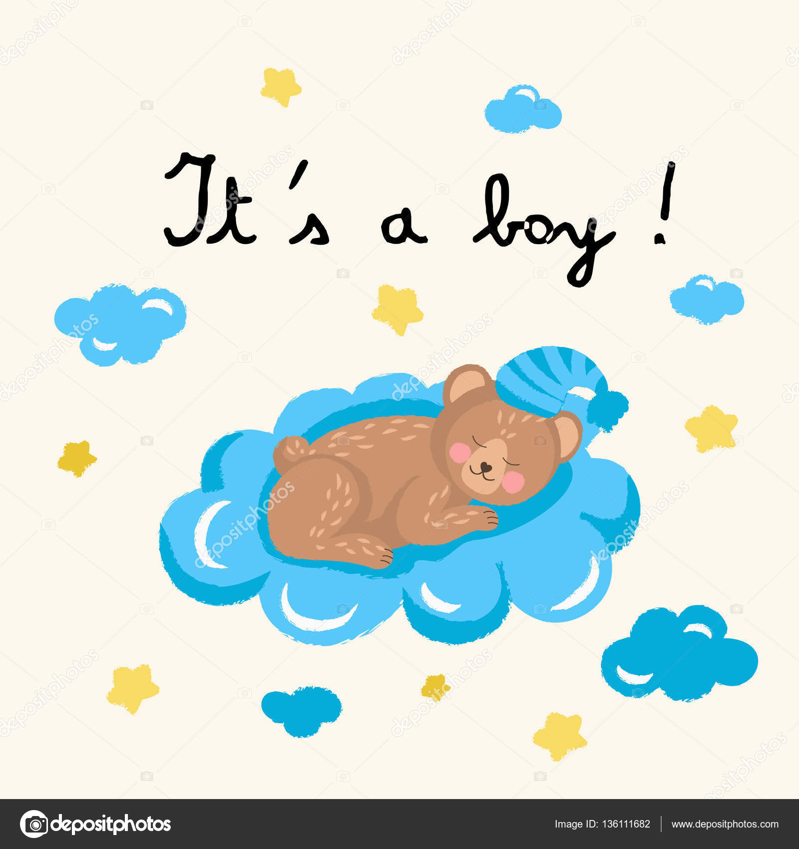 Cute sleeping bear on the cloud vector illustration Baby shower