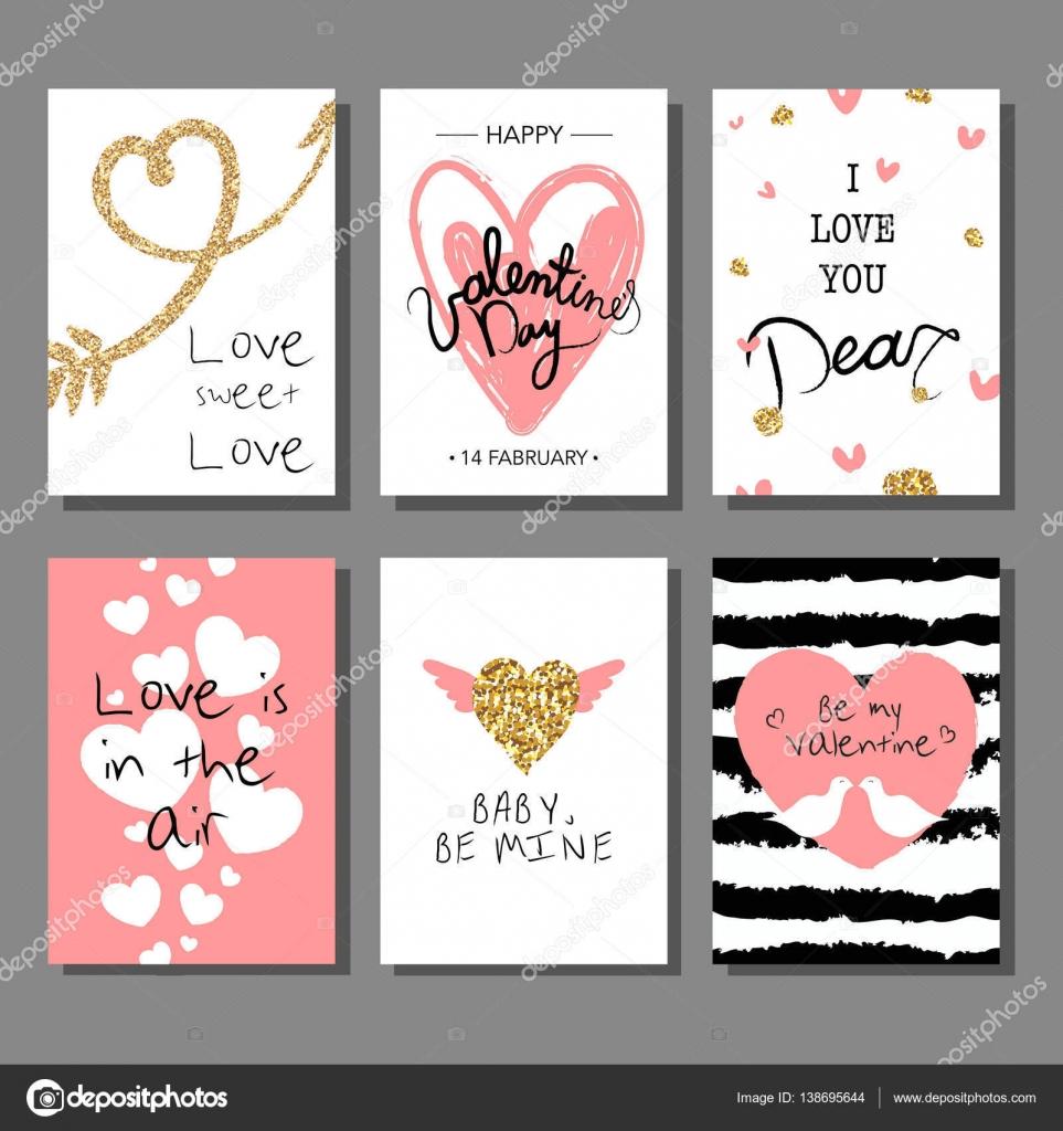 Kreative künstlerische Valentinstagskarten festgelegt. Vektor ...