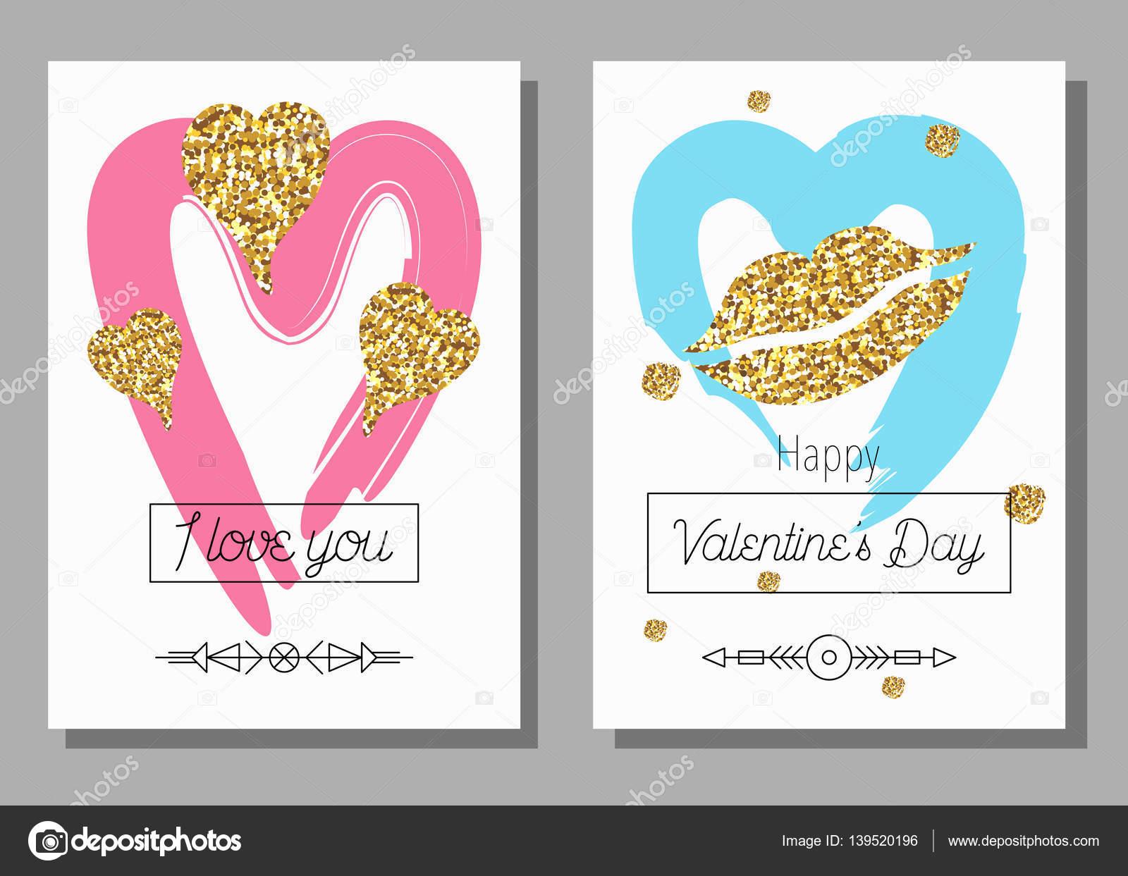 Valentinstag kreative künstlerische handgezeichnete Karten ...