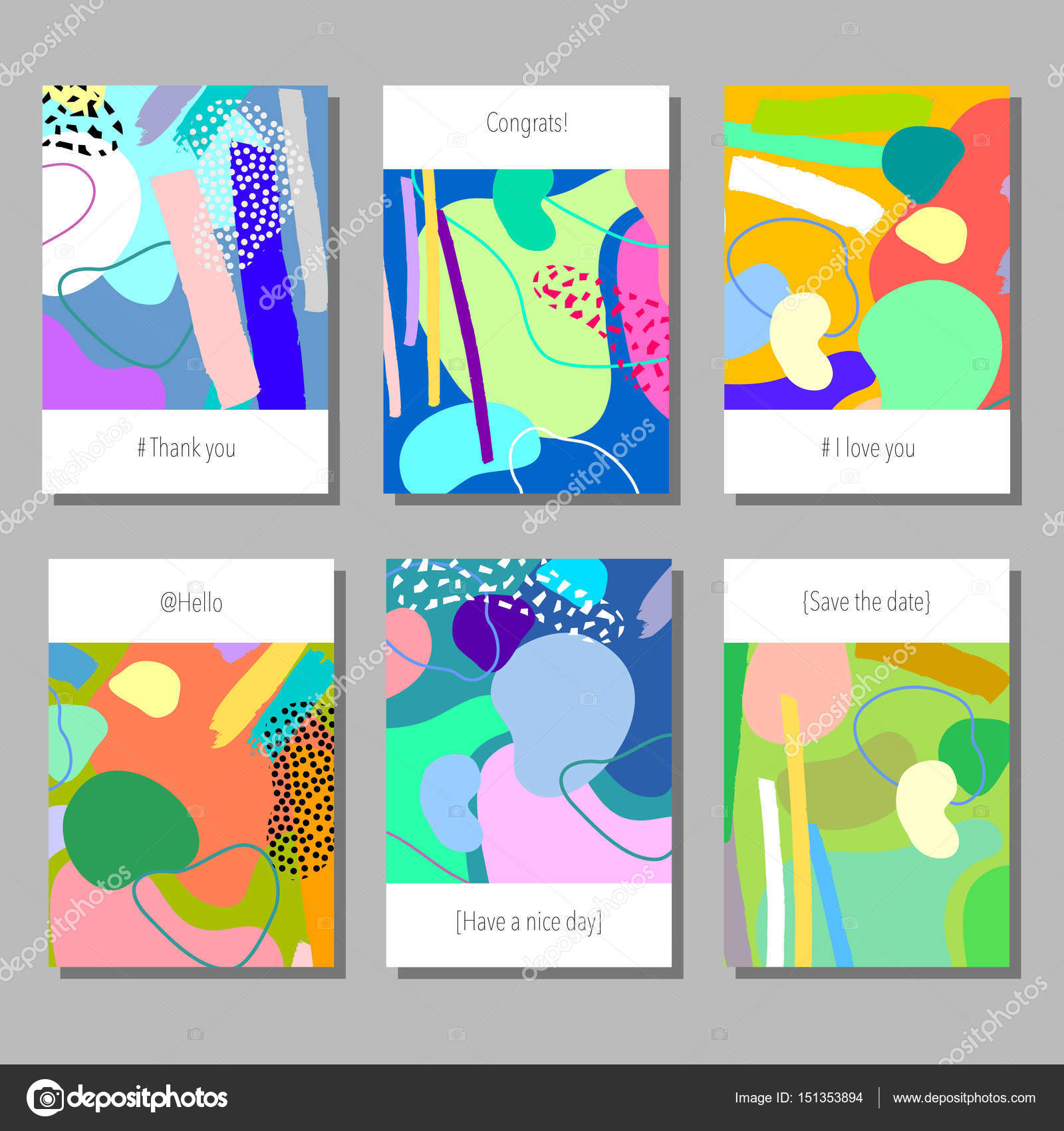 set of artistic colorful universal cards memphis style wedding anniversary birthday holiday party design for poster card invitation - Artistic Holiday Cards