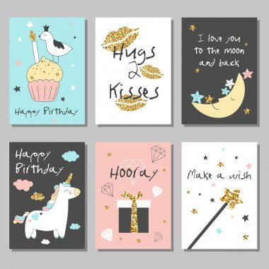 Magic design cards set with unicorn, rainbow, hearts, clouds and others elements. With golden glitter texture. Vector illustration