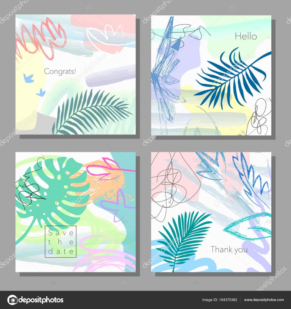 Set Of Artistic Colorful Universal Cards Wedding Anniversary