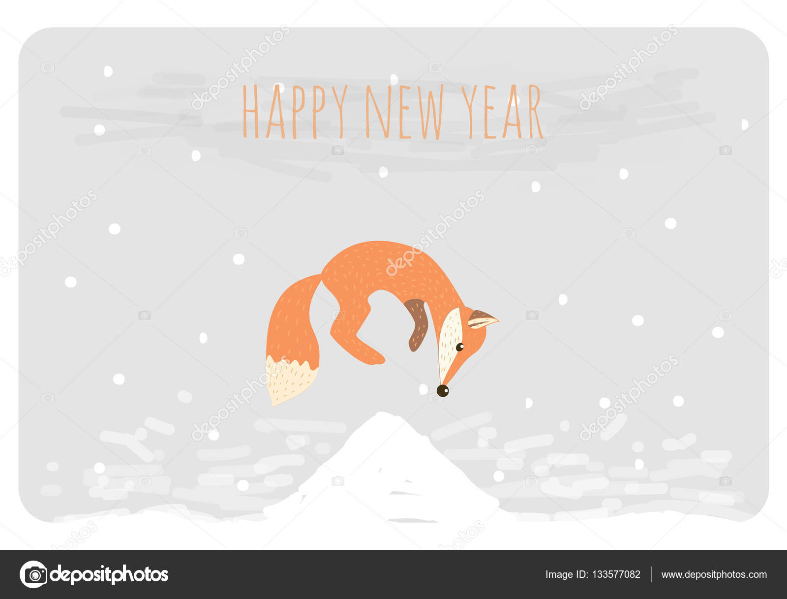 christmas and happy new year card funny cartoon fox jumping on snow vector illustration vector by artemvorotnikgmailcom