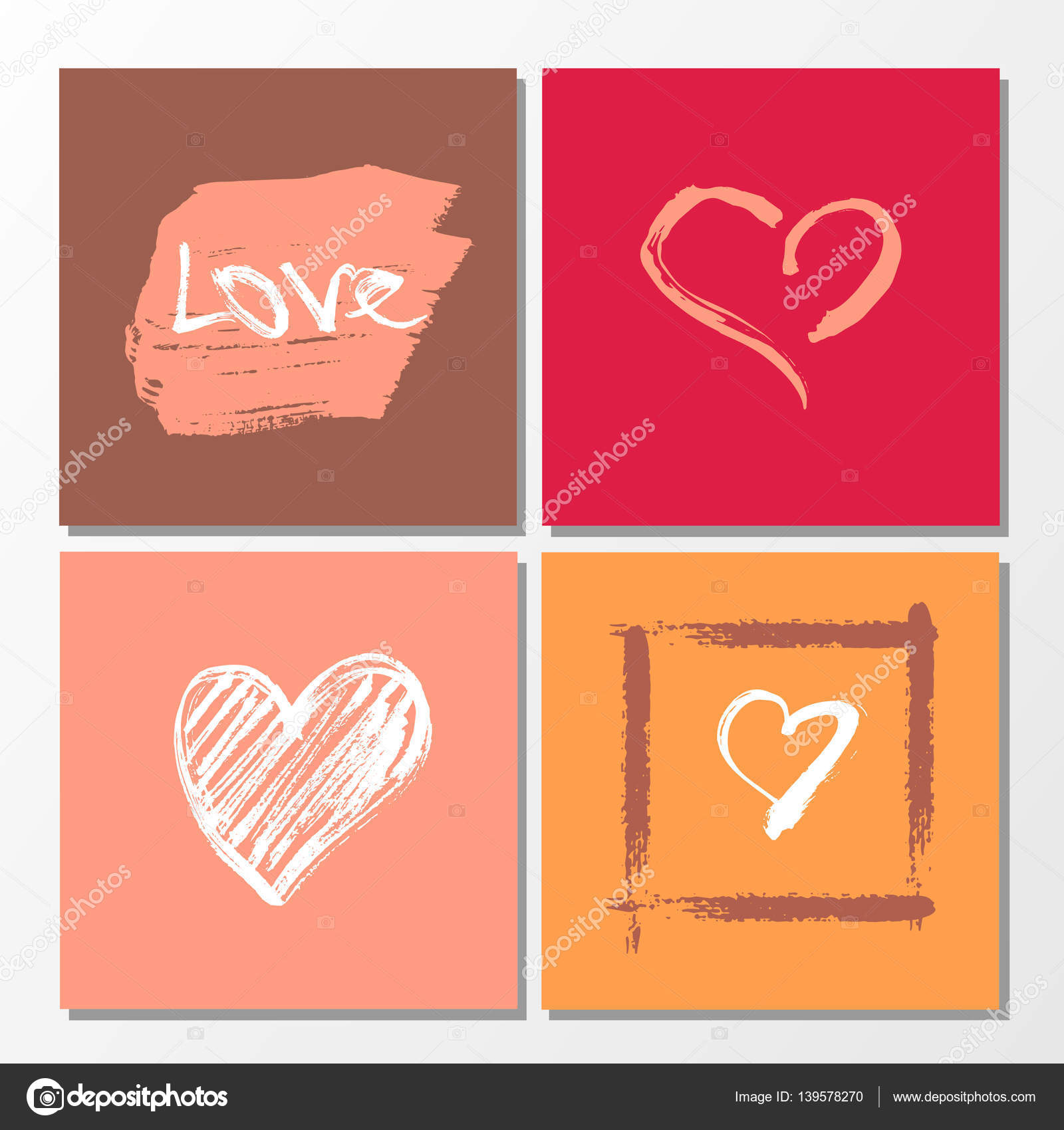 Vector Collection Of 4 Cute Valentines Card Templates Hand Drawn