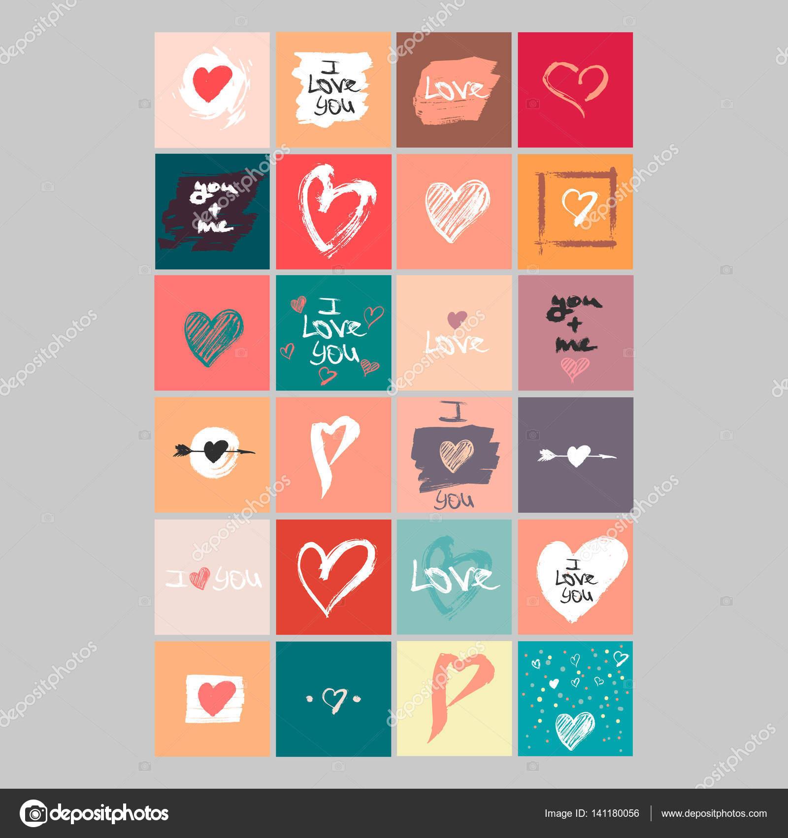 Vektor-Sammlung von 24 niedliche Valentines Karten. Druckbare ...