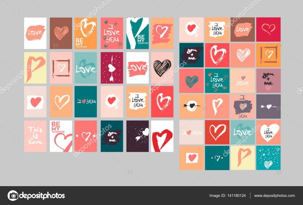 Vektor-Sammlung von 48 niedlichen Valentines Karten. Druckbare ...